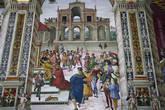 Цикл фресок о жизни и деяниях Энеа Сильвио Пикколомини, папы Пия II, в библиотеке Сиенского собора. Фридрих III венчает Пикколомини венком поэта