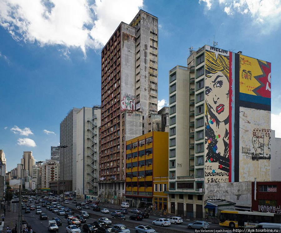 В городе много граффити. Сан-Паулу, Бразилия