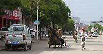 На фоне современного города можно кроме машин можно увидеть велосипедистов и запряжённую арбу