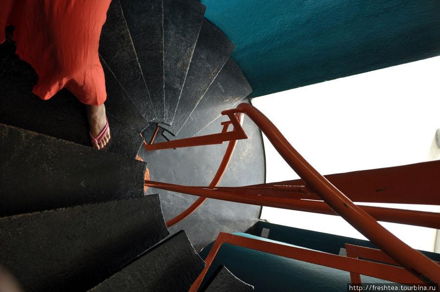 Переходы между ярусами — через яркие, аквамаринового оттенка барабаны, внутри которых завинчена в спираль черная лестница в обрамлении оранжевых поручней.