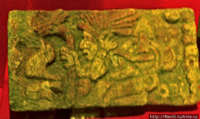Барельефы в муэее выставлены частями, так как они были найдены и представляют митико, ягуаров, орлов, грифов, змей, койотов и др.