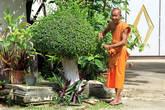 Монах за работой по благоустройству территории монастыря, Ват Ко Лак в Прачуап Кхири Кхан