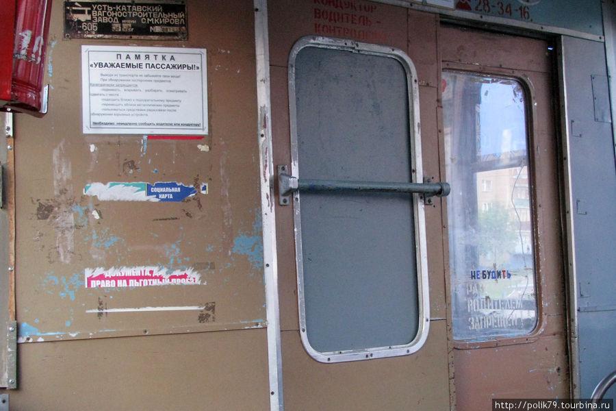 Уфимский трамвай. Вид изнутри.