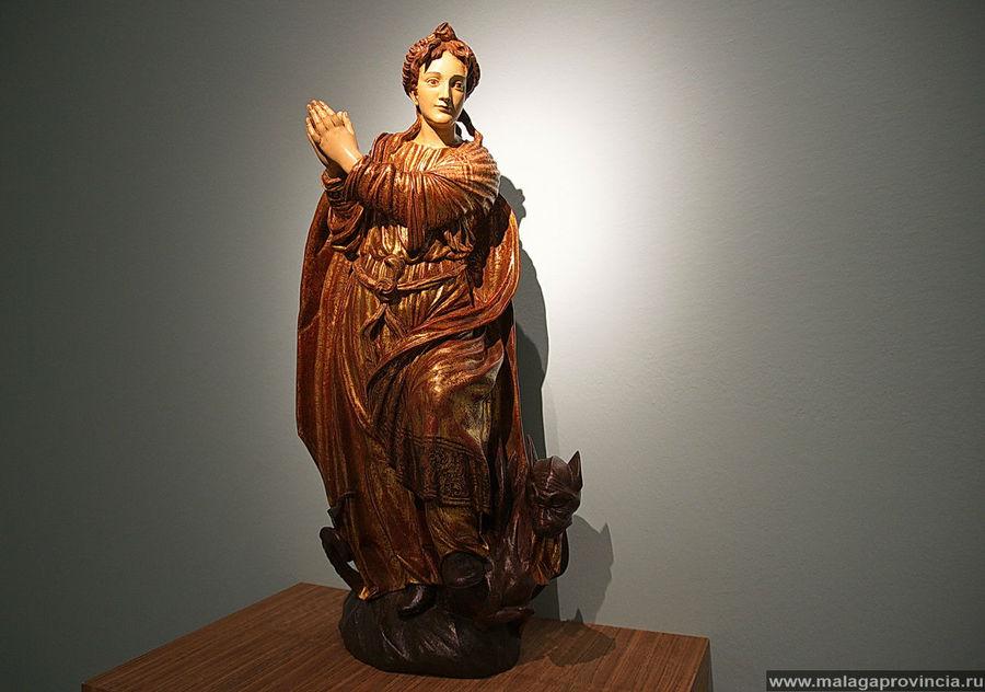 Св. Маргарита, выходящая из чрева дракона, 15 век, полихромированное дерево