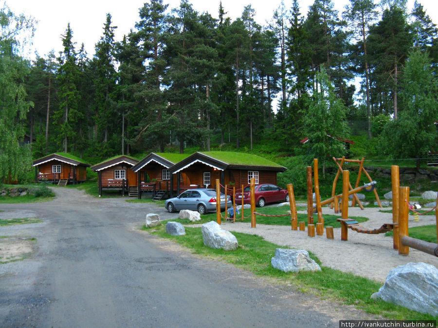 Домики с традиционной норвежской травкой на крышах