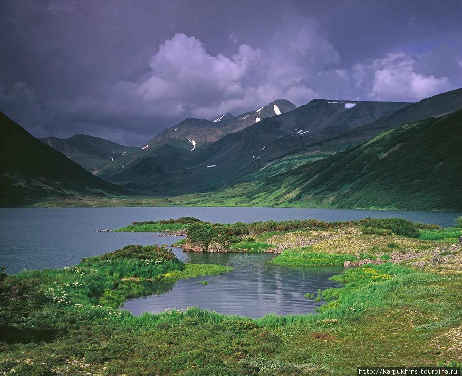 Озеро Дальнее. Южный берег и вид на север. Здесь очертания берега обязаны своей конфигурацией давно застывшему лавовому потоку.