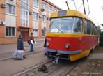 Конечная остановка трамвая в Одессе рядом с Херсонским сквером.