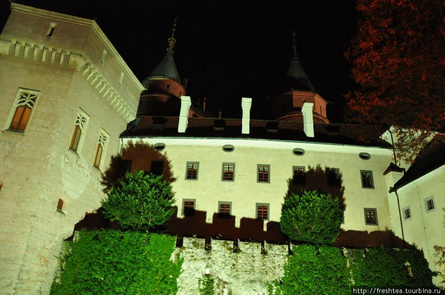 Замок в вечерней тьме не отпускает нас, хотя мы продрогли и держим путь к графу на кофе, точнее, в пиццерию