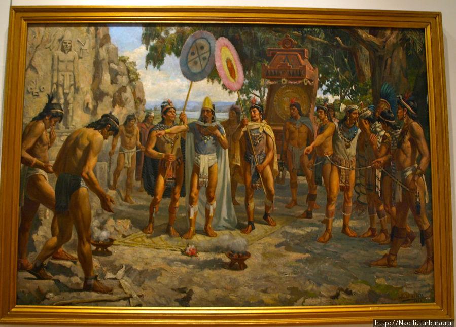 Визит Моктесумы к могилам предков, 1895, Даниэль дель Валле