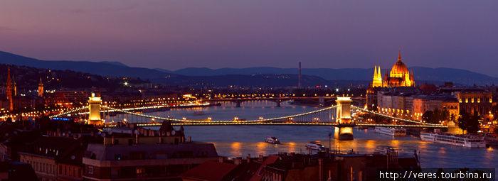 ночная панорама Будапешта