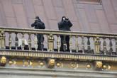 Современное использование крыши Ратуши во время посещения Бремена Ангелой Меркель в День Единства в 2010 году.