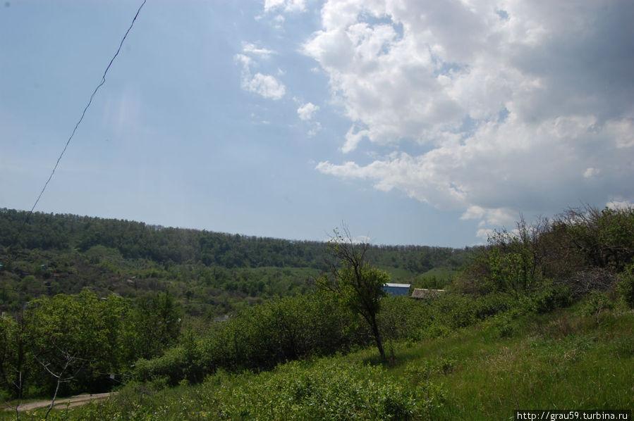 Кладбище находится чуть ниже гребня горы .На фото видны деревья среди которых находится кладбище.
