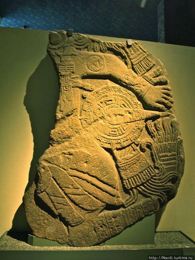 Фрагмент рельефа смерти солнца, найден в Тескоко на севере Мехико