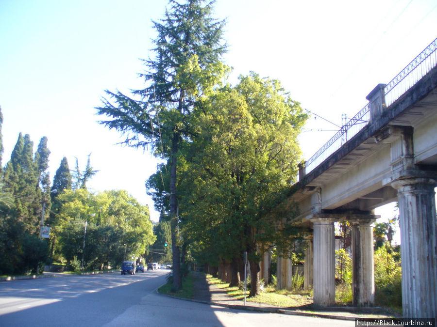 Справа от улицы Дзидзария остается железнодорожная эстакада