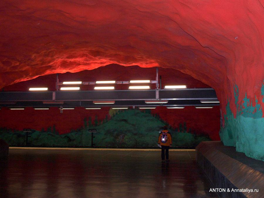 Одна из станций метро в Стокгольме.