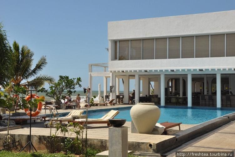 Территория отеля невелика, но и бассейну, и газонам нашлось место.