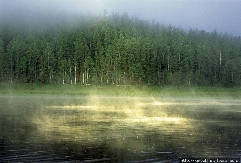 Танцующий туман на устье Подпорожной.