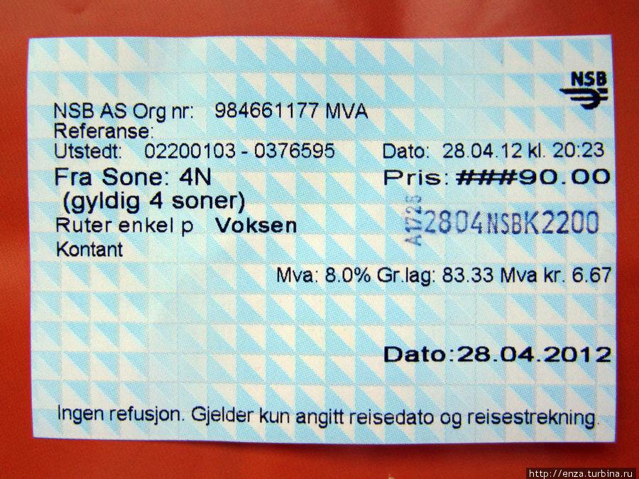 Билет на электричку с отметкой контролера.