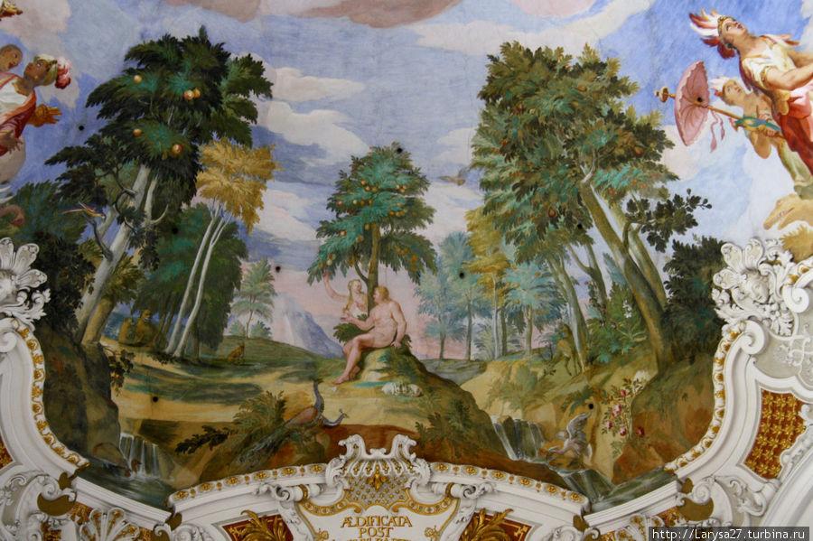 Detalhe do afresco com um jardim paradisíaco