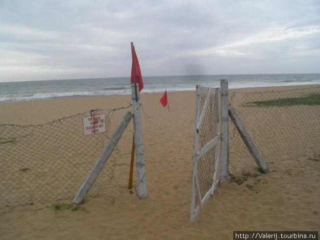 Красные флаги — в море опасно, отель ответственности не несет.