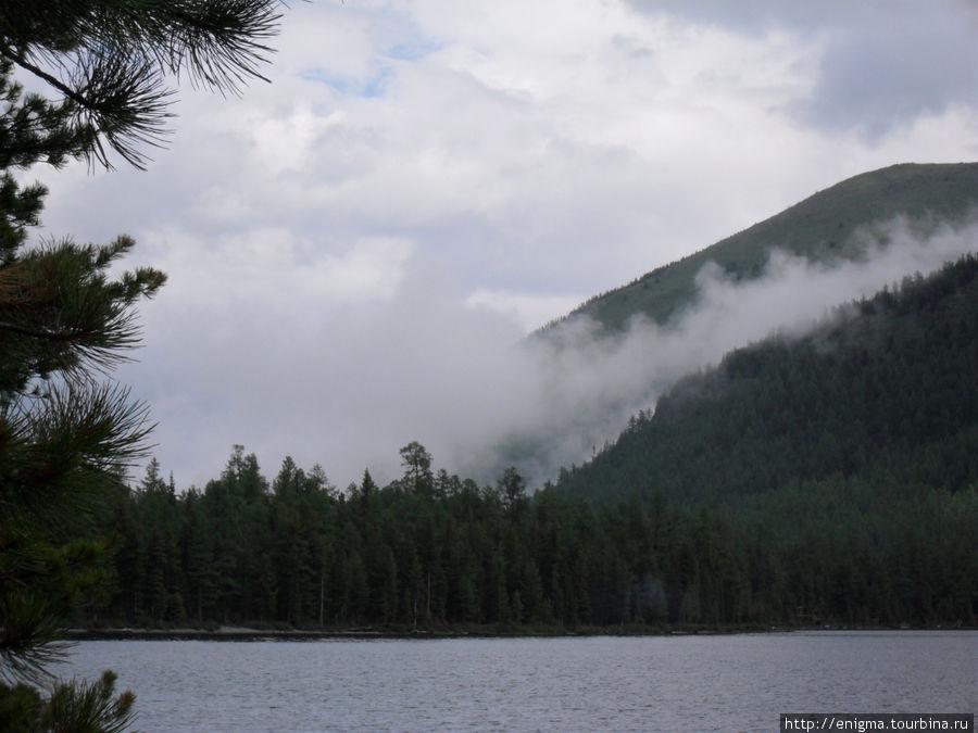 Утренний туман на озере.