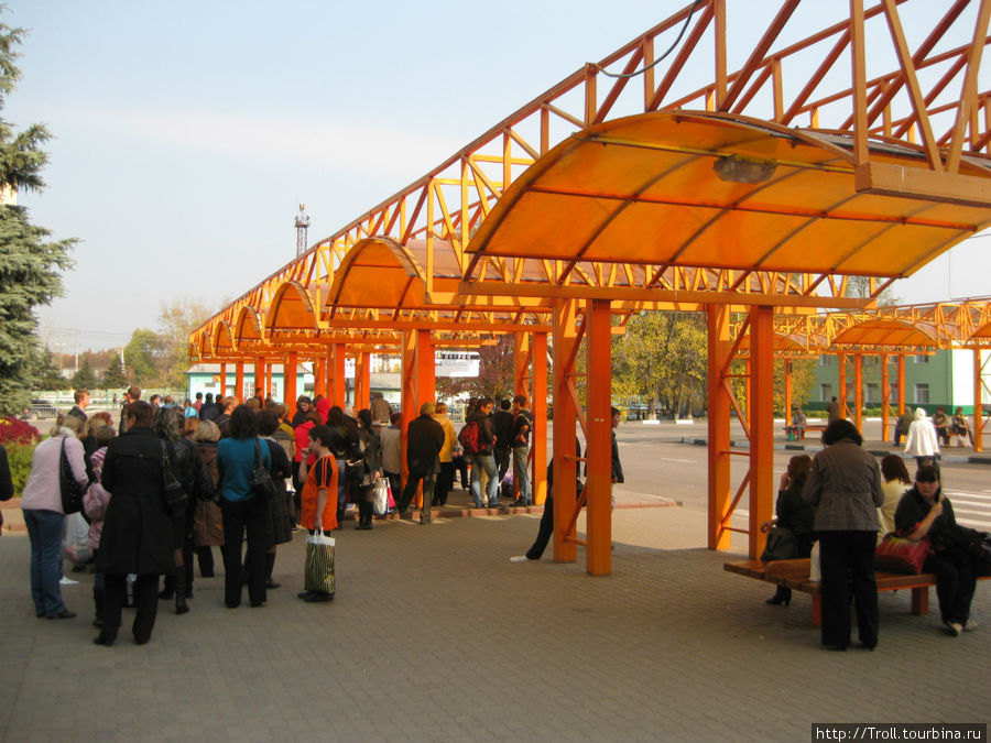 Перрон ближнего сообщения, на переднем плане толпа желающих уехать в Зарайск