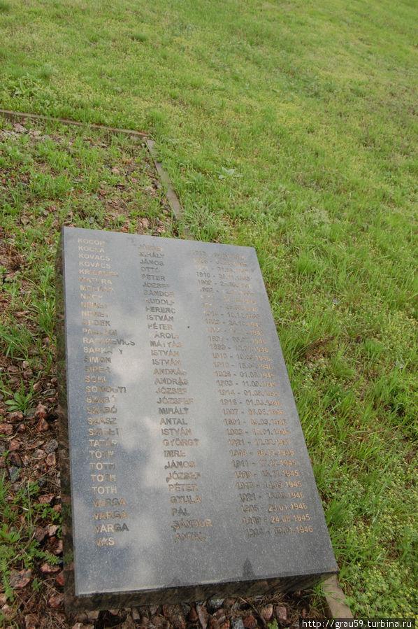 Вторая плита с именами захороненных