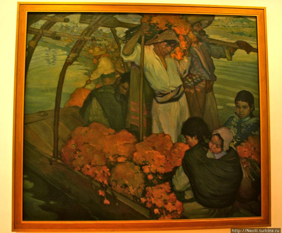 Жертва, это полотно показывает момент человеческой жертвы с цветами ко дню мертвых плывущих на место ритуала. Художник представил аналогию жертвы индейского народа всех возрастов в связи с господством испанцев.