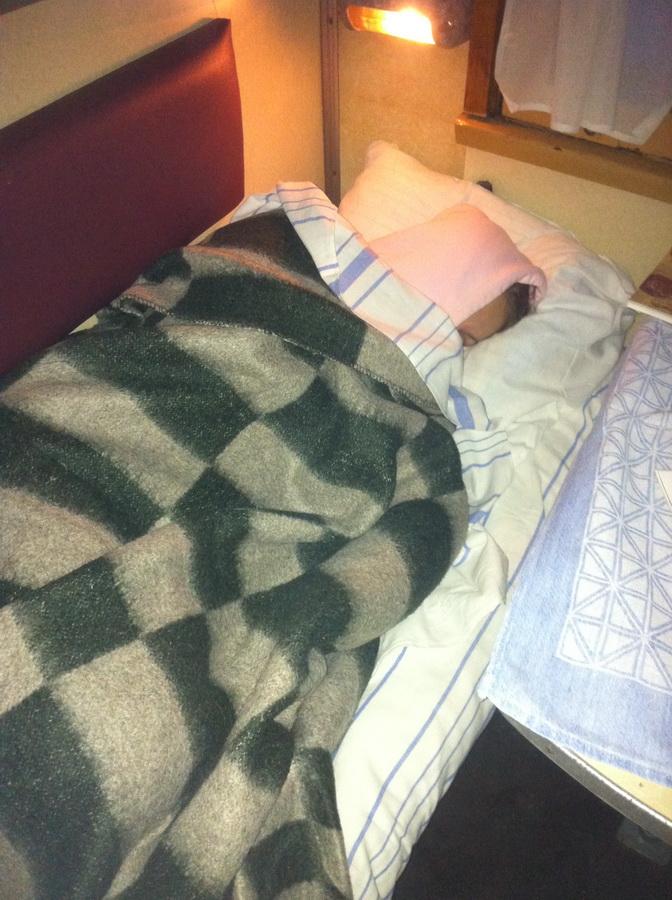 От холода спать можно было только вот так (на улице было всего около -5). Правда под вечер