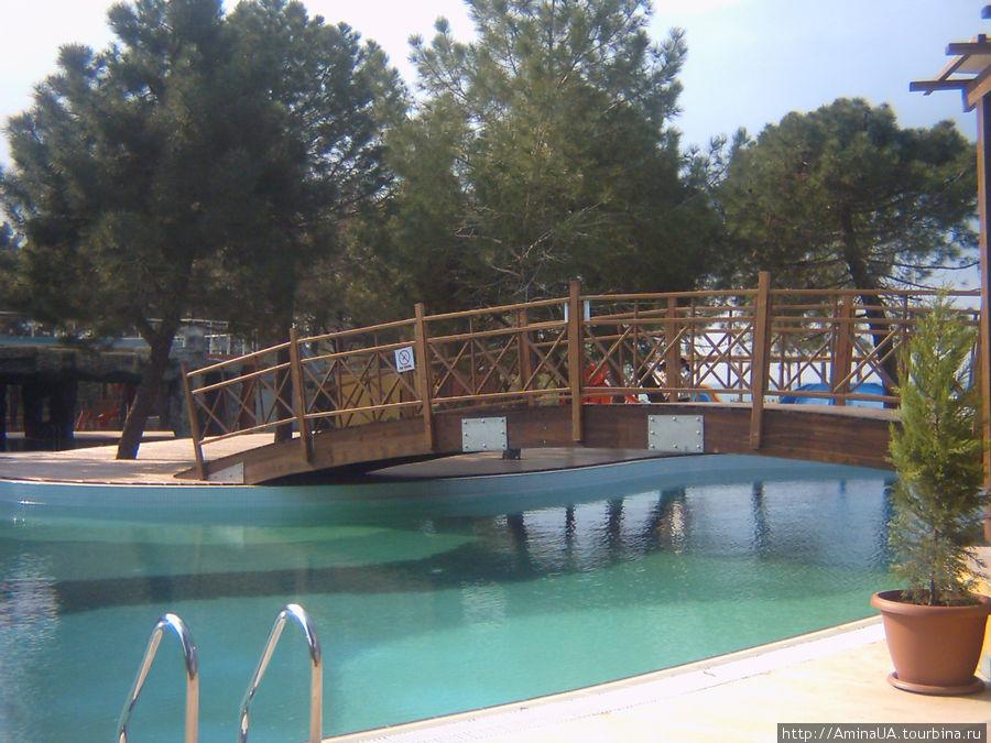 вода в бассейне прохладная, но некоторые гости отеля плавают