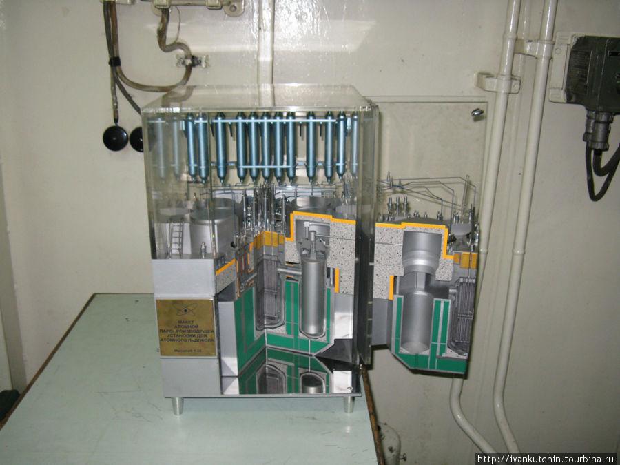 Реакторный отсек. Сам рекатор давно демонтирован, экскурсовод объясняет принцип его работы на макете.