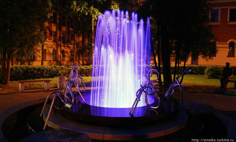 Ночью красиво подсвечивается, за фонтаном виден Политехник