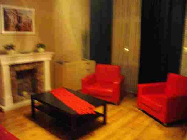 Гостиная. Мебель я-ля под кожу, но удобная.