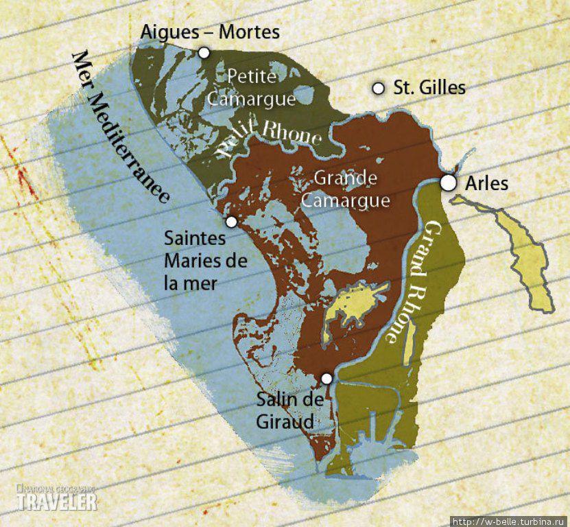 Карта региона Камарг.