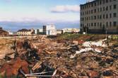 Вид на главную площадь посёлка военных летчиков. Разрушено всё...