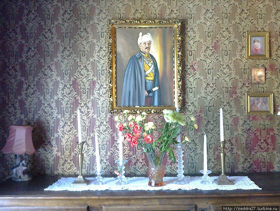 портрет Маннергейма в белой ушанке ...