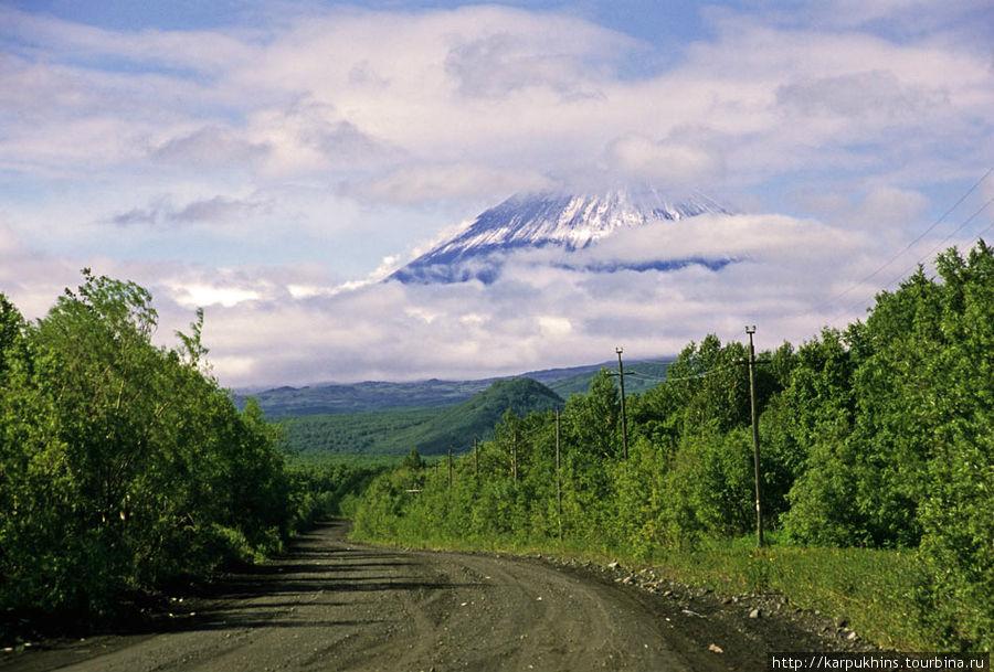 Так выглядит Ключевская Сопка из посёлка.