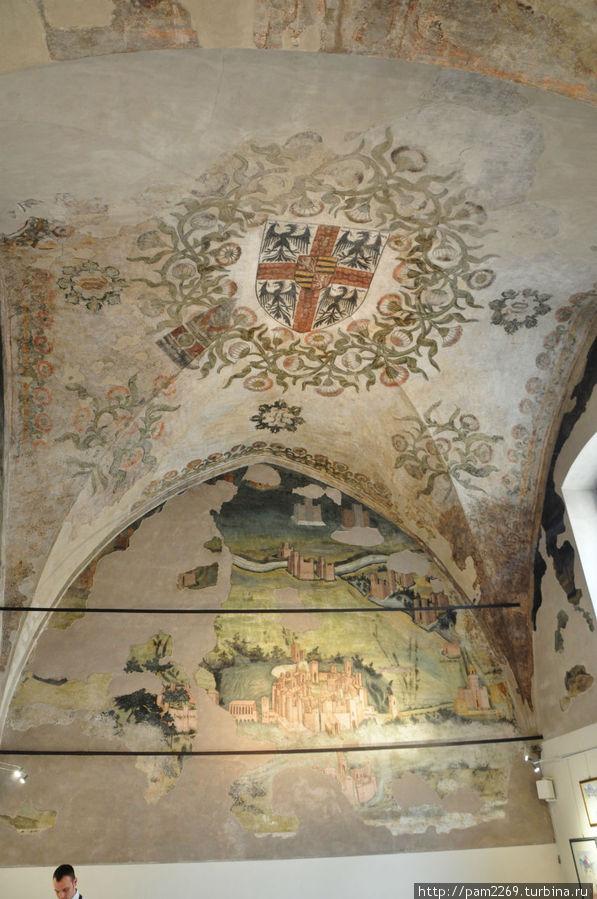 фрески на потолке геральдика Гонзага в центре свода.