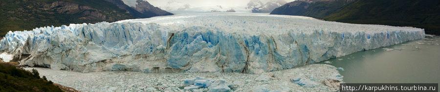 Ледник Перито Морено во всей своей широте.