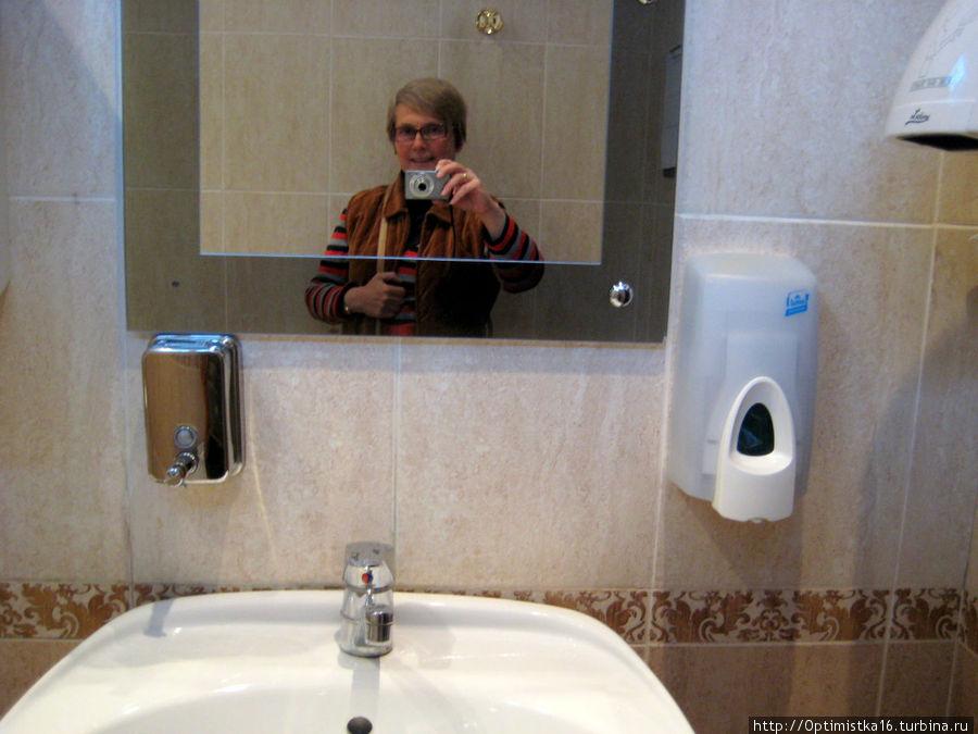 Туалет блещет чистотой