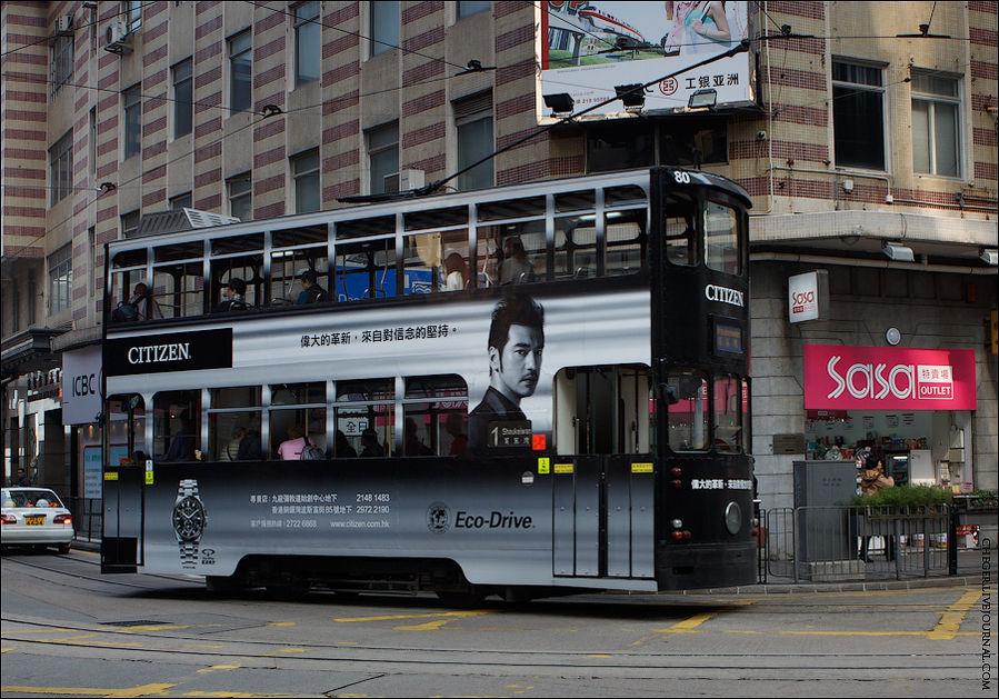 Ещё одним из видов транспорта являются классические двухэтажные трамвайчики. Сеть у них сильно небольшая, только по Гонконгу и то только в центре. Я катался на них просто так, чтоб прокатиться