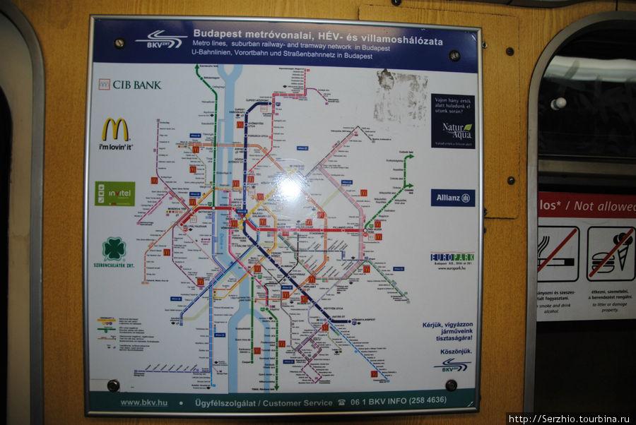 Схема движения всего транспорта г. Будапешта.