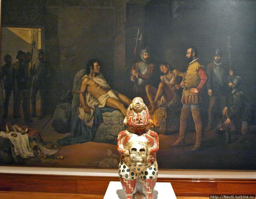 Современные скульпторы украшают зал мистическими фигурами богов, и располагая их по залу выражают свое отношение к истории