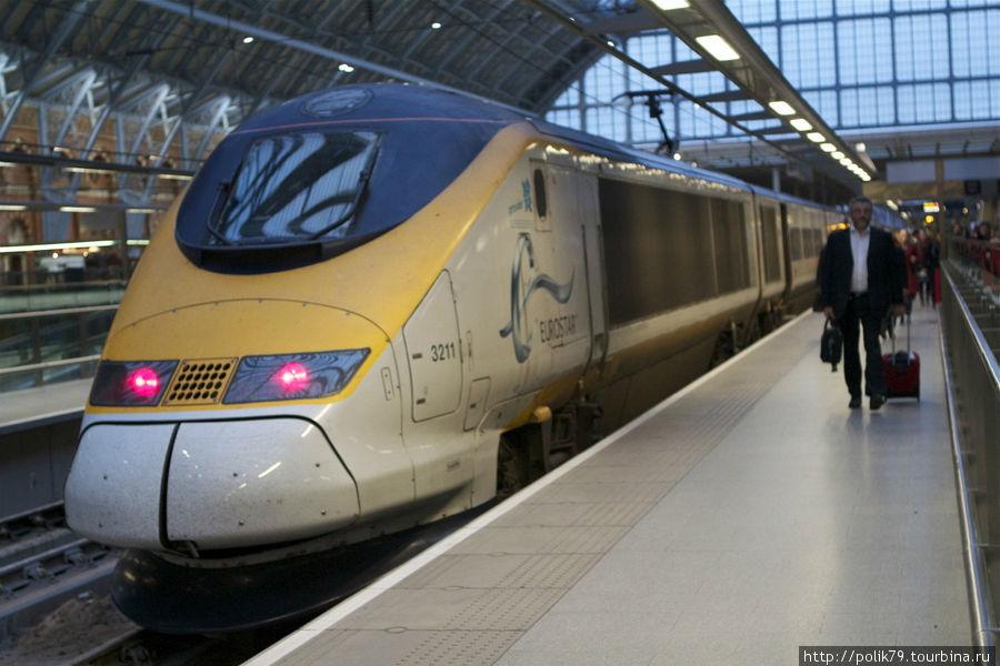 Поезд Евростар, на котором я приехал в Лондон.