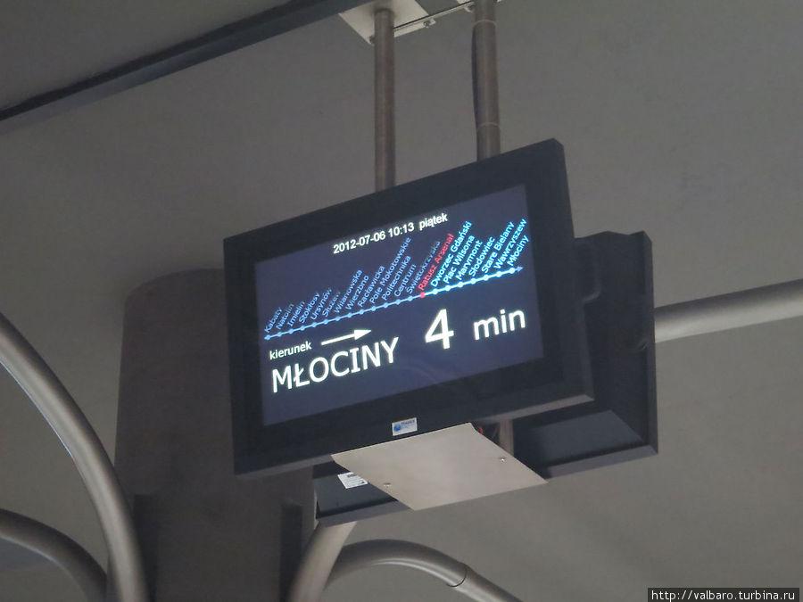 Табло, на котором отражается время прибытия поезда