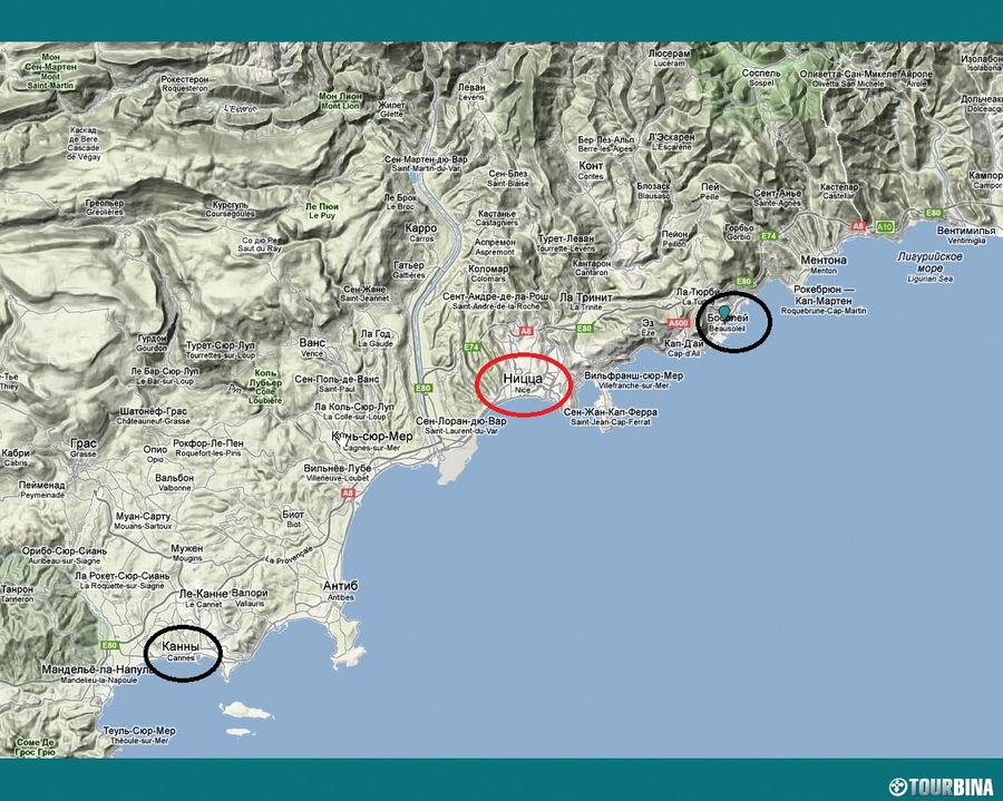 В Монако (вверху справа) я ездил на автобусе. В Канны (внизу слева) на пригородном поезде.