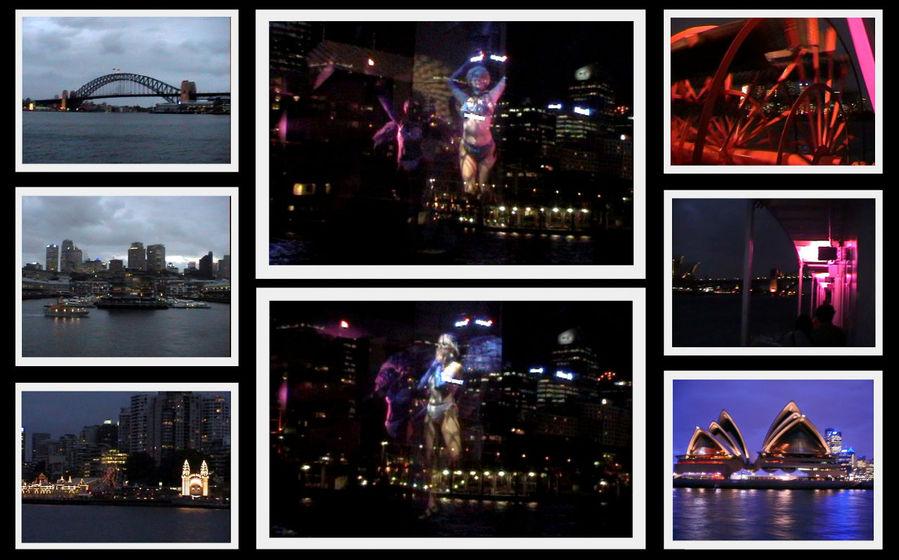 По центру два кадра это как раз снимок с видеокамеры.  Видны огни города и отображение танцовщиц.