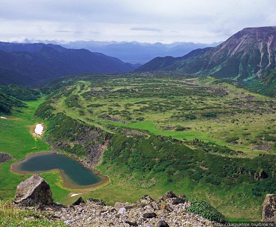 На перевале между Бакенингом и Ново-Бакенингом. А также между озёрами Дальнее и Медвежье. Вид на запад. Отлично видно застывшее лавовое поле. На дальнем плане поперечная долина реки Камчатки, где проходит основная автомобильная трасса полуострова. Правильная тропа вниз, идёт не через лавовое поле, а по зелёной ложбине слева от него. Там, где лежит вот это небольшое изогнутое озеро.