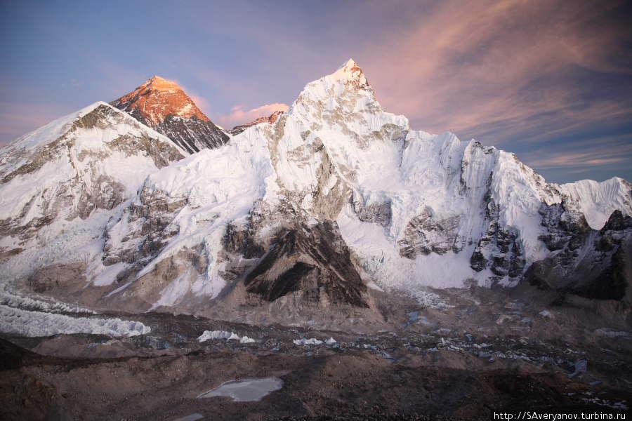 Массив Джомолунгмы и Нуптзе, ледопад и ледник Кхумбу, вид с Калапаттара