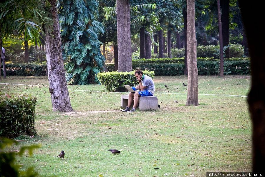 В парке в Нью-Дели очень контрастно, т.к. за его пределами шум гудков моторикш и трущобы...